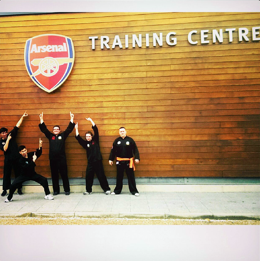Arsenal players try Silat with the PSF UK